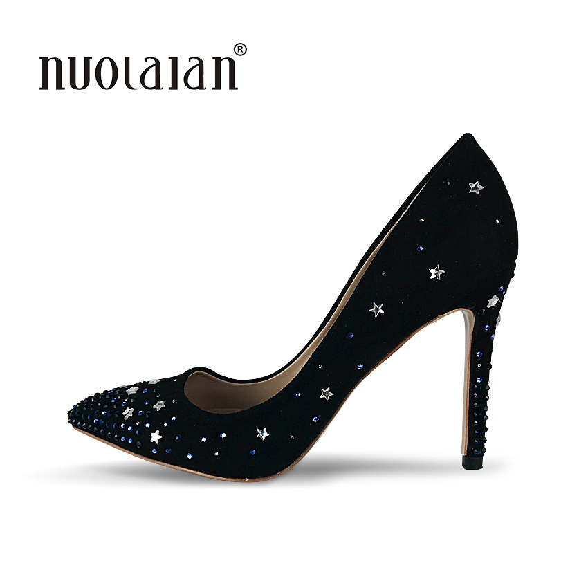 Brand Women High Heel Shoes Pumps Lady Sexy Pointed Toe Wedding Shoes Crystal Stiletto Heels Dress Wedding Shoes Woman doratasia denim eourpean style big size 33 43 pointed toe women shoes sexy thin high heel brand design lady pumps party wedding