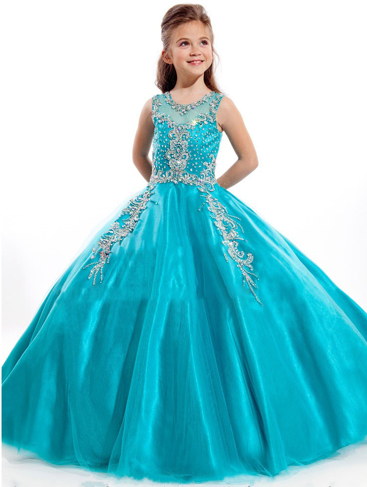 2017 Luxury Ball Gown Flower Girl Dress Crystals Beading Puffy Tulle Long Girls Pageant Gown Birthday Party Dress Free Shipping
