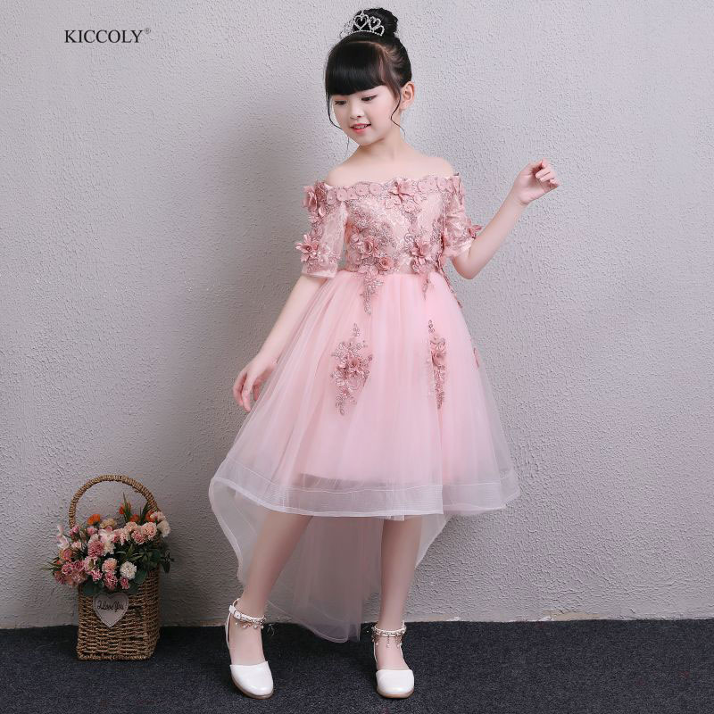 KICCOLY Custom 2018 Pink Lace Bead Tulle First Communion Dresses For Girls Half Sleeve Ball Gown Flower Girl Wedding Dress 1-14YKICCOLY Custom 2018 Pink Lace Bead Tulle First Communion Dresses For Girls Half Sleeve Ball Gown Flower Girl Wedding Dress 1-14Y