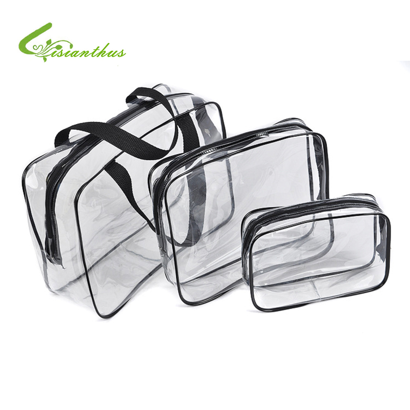 New Sale 3Pcs/Lot Transparent Waterproof Makeup Make up Organizers Cosmetic Bag Outdoor Travel Admission Package Free Shipping