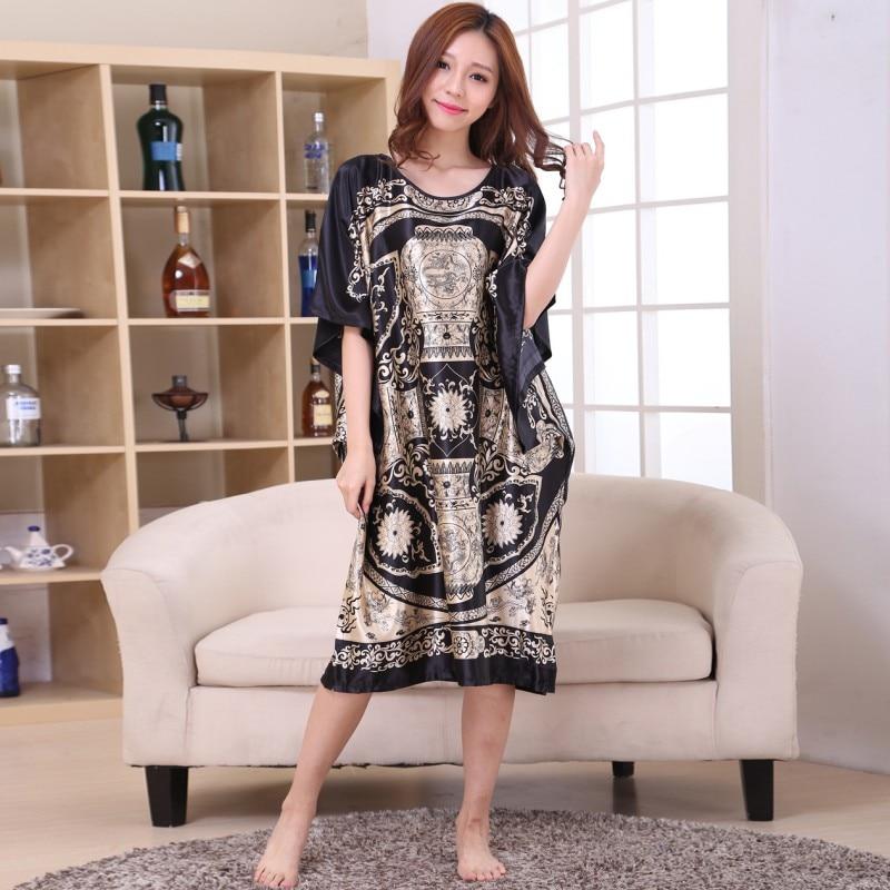 Plus Size Women's Summer Robe Lady Sexy Home Dress Rayon Nightgown Large Loose Bating Sleeve Sleepwear Bathrobe