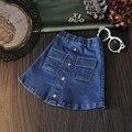 2016 novo verão do bebê meninas saia jeans denim saia uma linha de saia para a menina terno 2-7 T crianças saias