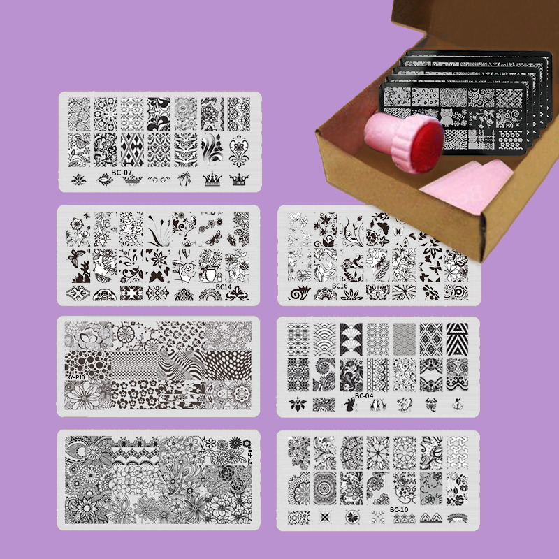 7pcsset Nail Stamping Plates Nail Stencil Stamp Template Image