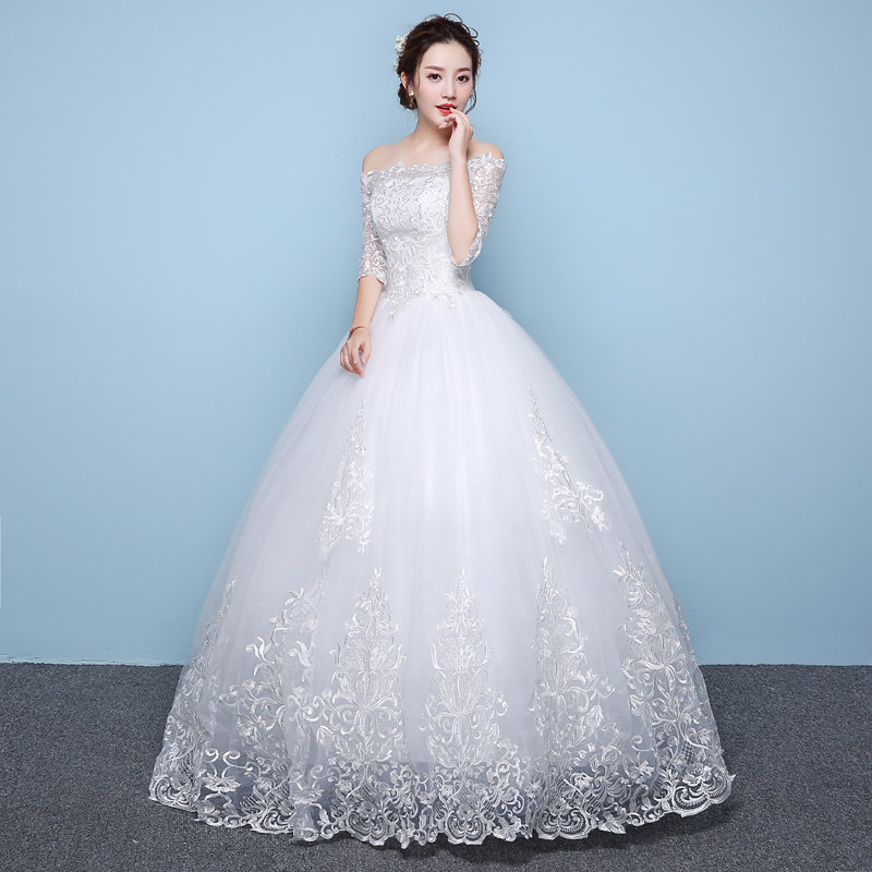 It\'s YiiYa Off White Boat Neck Half Sleeve Fashion Wedding Gowns ...