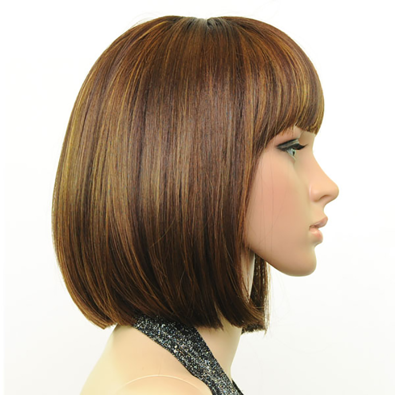 HAIRJOY Women Synthetic Hair Wig Full Bangs Brown Blended Short Straight Wig Bob Hairstyle Free Shipping 3 Colors Available in Synthetic None Lace Wigs from Hair Extensions Wigs