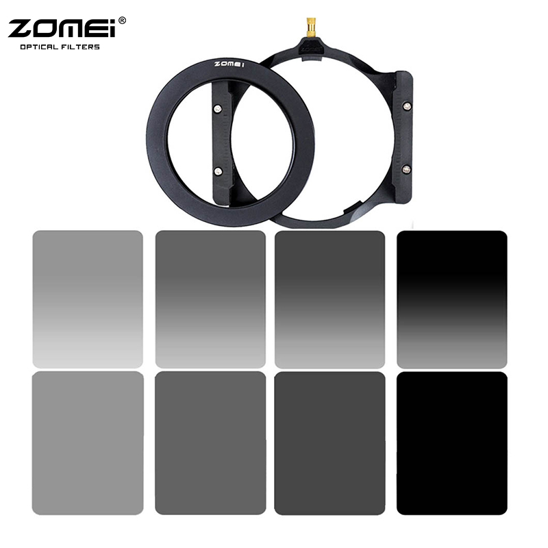 Zomei Square 100mm *150mm Neutral Density Filter Full Color Grey ND2 ND4 ND8 ND16 Gradient Grey ND2 4 8 16 set for Cokin Z pro, square resin full color filter for dslr blue