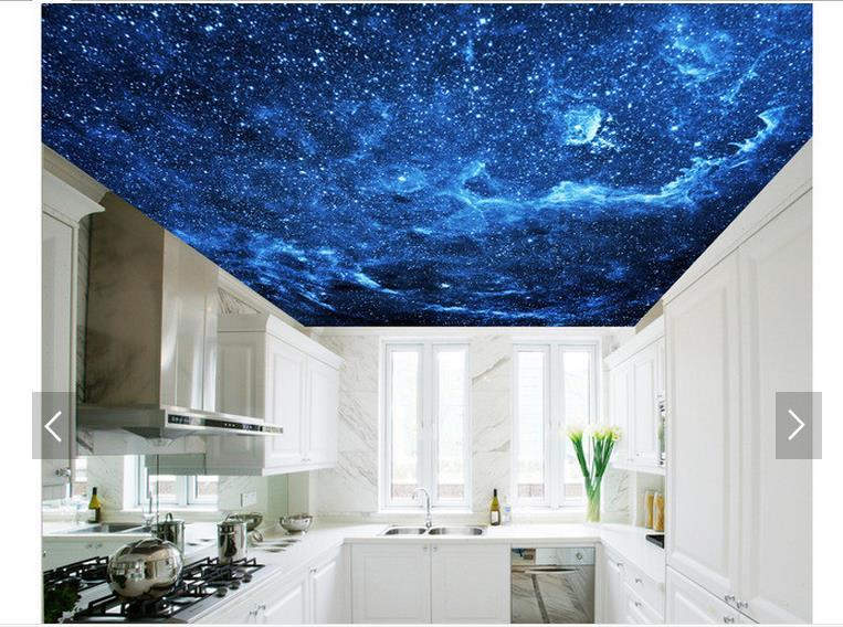 Купить с кэшбэком 3d photo wallpaper 3d ceiling wall murals wallpaper Sky blue night dream living room ceiling murals 3d room wallpaper