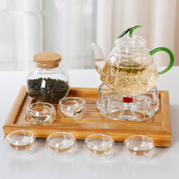 9pcs/set Diamond Shaped Glass Teapot Set Teapot with Green Leaf Lid Green Handle Transparent Glass Strainer Double Wall Cup