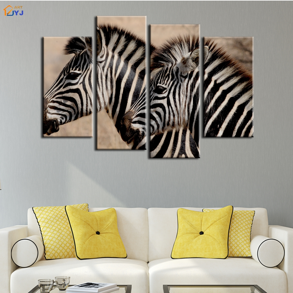 4 pcs home decor african zebra oil painting on canvas wall for Zebra decorations for home