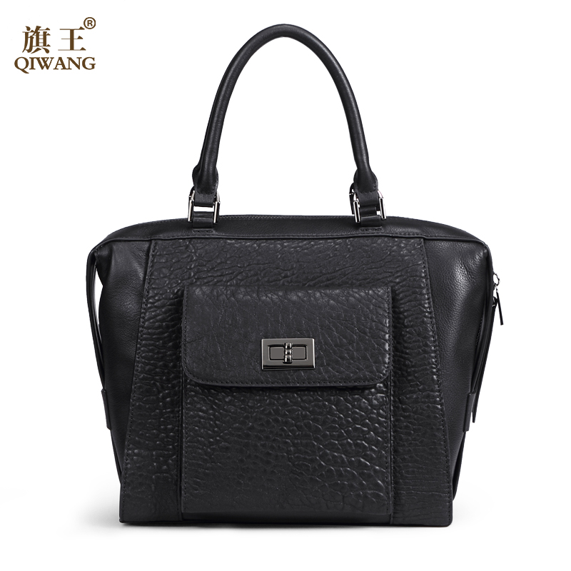 QIWANG Designer Brand Genuine Leather Bag Business Women Tote Briefcases Crossbody Bags Shoulder Handbag 2017 luxury genuine leather bag fashion brand designer women handbag cowhide leather shoulder composite bag casual totes
