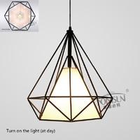 Modern Black Birdcage Pendant Lights Iron Minimalist Retro Light Scandinavian Loft Pyramid Lamp Metal Cage With