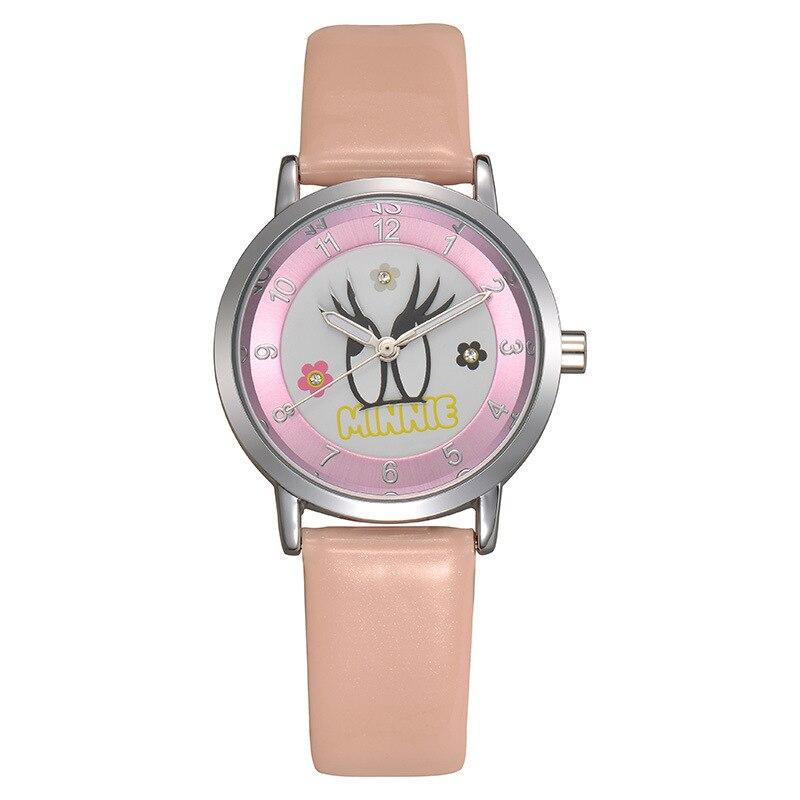 Disney children wrist watch font b kids b font girl clocks leather quartz cartoon Minnie mouse