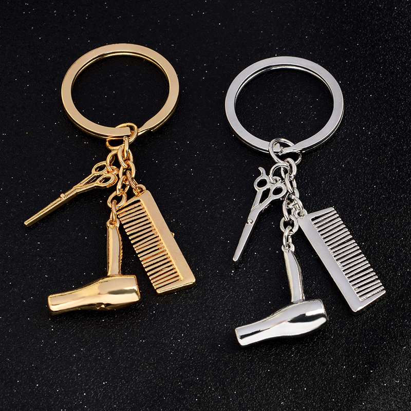 New Personality Hair Dryer Combs Scissors Pendant Keychain Hairdressing Tools Hair Stylist Scissor Blow Salon Creative Gift
