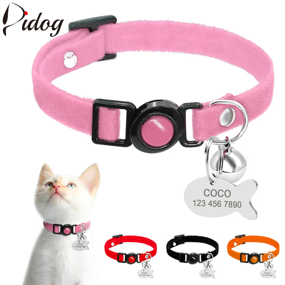 Quick Release Cat Collar Safety ID Tag Personalized Kitten Collar Customized Puppy Cat Small Dog Collars Engraving Name Pink