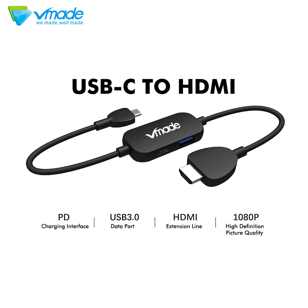 USB Type-C To HDMI 1080P Adapter Audio Video Cable For BLU Vivo XL Vivo 5