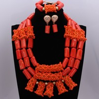 African Bridal Beads Sets Orange Nigerian Wedding Jewelry Set For Brides Nature Coral Necklace Set of Beads Free Shipping 2018
