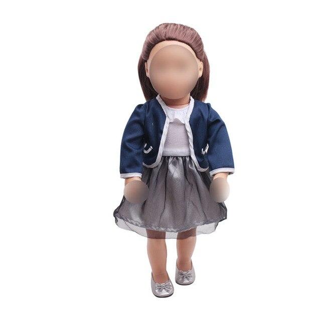 18 cali dziewczyny sukienka dla lalek granatowy mundurek szkolny spódnica American noworodka ubrania dla dzieci zabawki fit 43 cm lalki dla dzieci c361