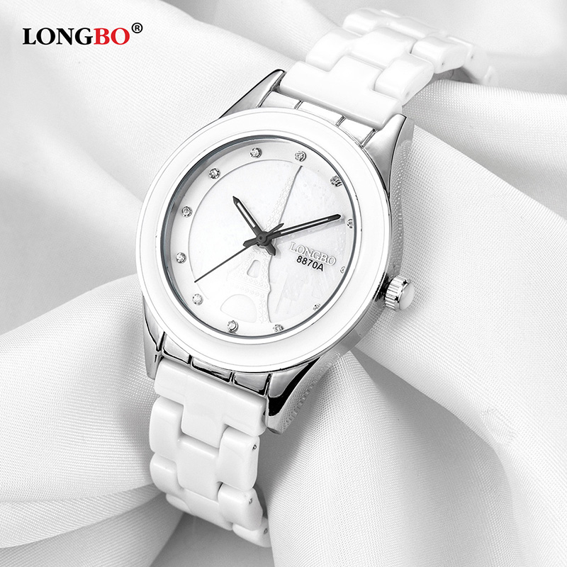 LONGBO Top Brand Men Women Luxury Couple Lovers Wrist Watches Fashion Geneva Watch Ceramic White Gold Strap Clock Reloj Mujer in Lover 39 s Watches from Watches