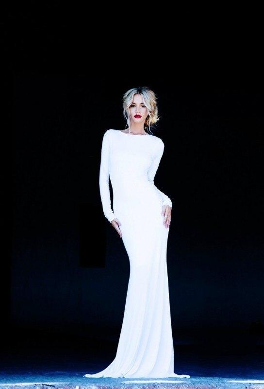 Zahy сексуальный белый Meimaid формальные ну вечеринку платье привлекательный спинки шифоновое платье знаменитости природа талии длинные рукава Vestidos