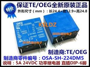 Image 2 - משלוח חינם (10 יח\חבילה) 100% מקורי חדש TE טייקו OEG OSA SS 224DM5 OSA SH 224DM5 6 סיכות 5A 24VDC כוח ממסר