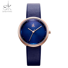 Shengke Simple Women Watch Fashion Lake blue Dial Ladies Dress Wristwatch Bayan Kol Saati Luxury Leather Clock Relogio Feminino ulzzang fashion simple small dial dress women watch ladies girls young watch leather women wristwatch