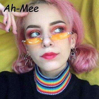 Newest Small Narrow Sunglasses Women Retro Rectangle Sunglass Brand Designer Female Eyewear Rimless Square Colorful Lens Shades