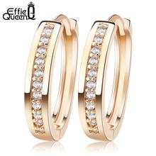 Effie Queen Cute Romantic Style Earrings Jewelry Gold-color Paved with AAA Cubic Zircon Stud Earrings for Women Party Gift DDE34