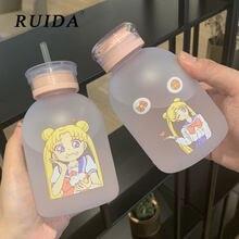 RUIDA Sailor Moon przezroczysta plastikowa butelka wody Cartoon matowe butelki na wodę szczelne Drinkware Cute Student Girl Gift Cup
