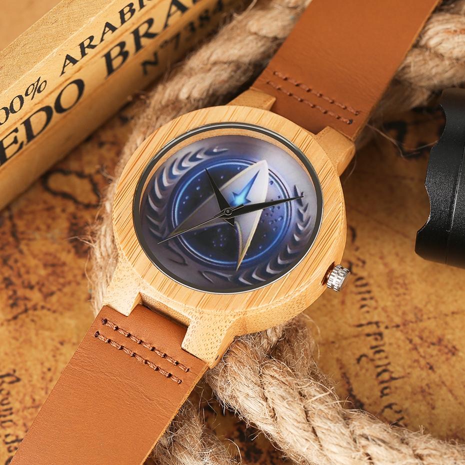 Casual Wooden Watch Fashion Movie Theme Star Trek Bamboo Clock Men Genuine Leather Band Sport Boys Minimalism saat erkekler 2017 watches (11)