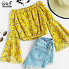 Dotfashion Cute Woman Shirts Summer Off Shoulder Fluted Sleeve Ditsy Print Blouse 2017 Floral Yellow Sexy