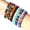 Wholesale Men's Beaded Buddha Bracelet, Turquoise, Black Onyx, Red Agate, Tiger Eye Semi Precious stone Jewerly