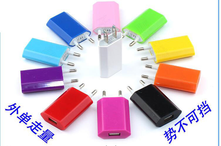 Hot selling Colorful Travel Wall Charging Charger Power Adapter European USA Plug USB AC For Apple