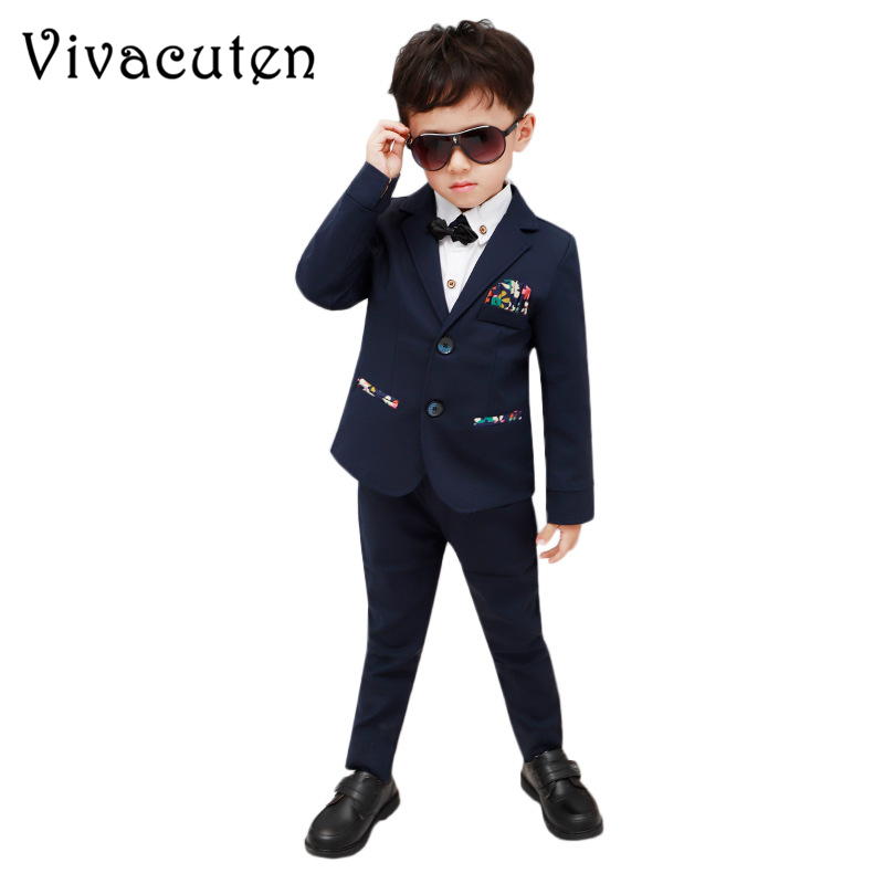 Brand Boys Formal Wedding Suit European Style Flower Boys Blazer Vest Pants Suit Gentle Children Floral Tuxedos Blazers F014 brand fashion boy wedding suit gentle baby boys vest shirt pants formal party suit children clothing set formal outfits h101