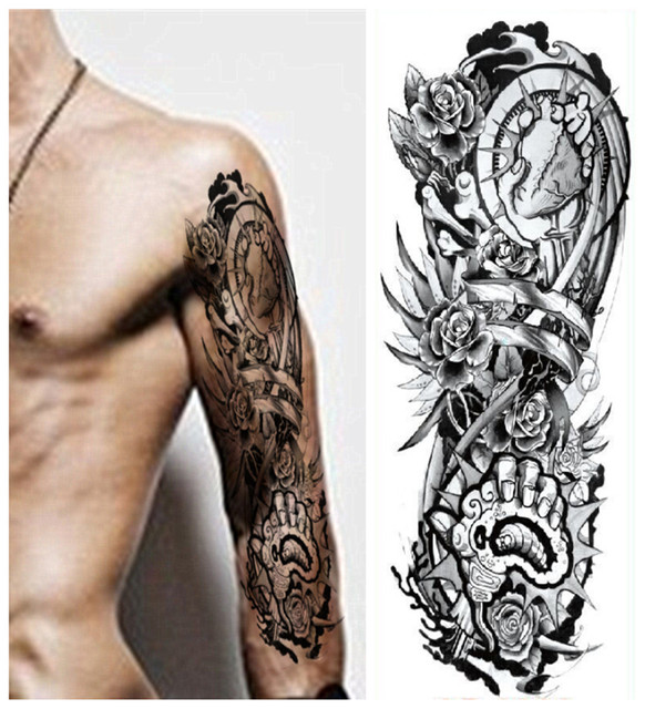 Waterproof temporary removable tattoo skull 3d fake stickers arm leg body art tatouage body painting wall