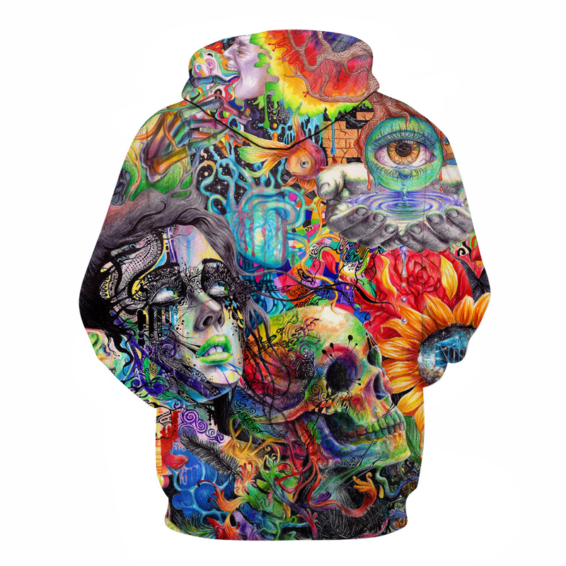 Paint Skull 3D Printed Hoodies Men Women 1