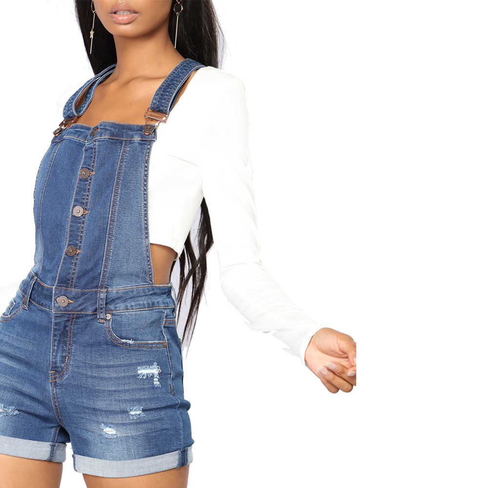3b5a9268fd1 ... LORDXX Women Denim Overalls Shorts Blue Roll-up Cuffs Button Down  Summer Denim Romper Short