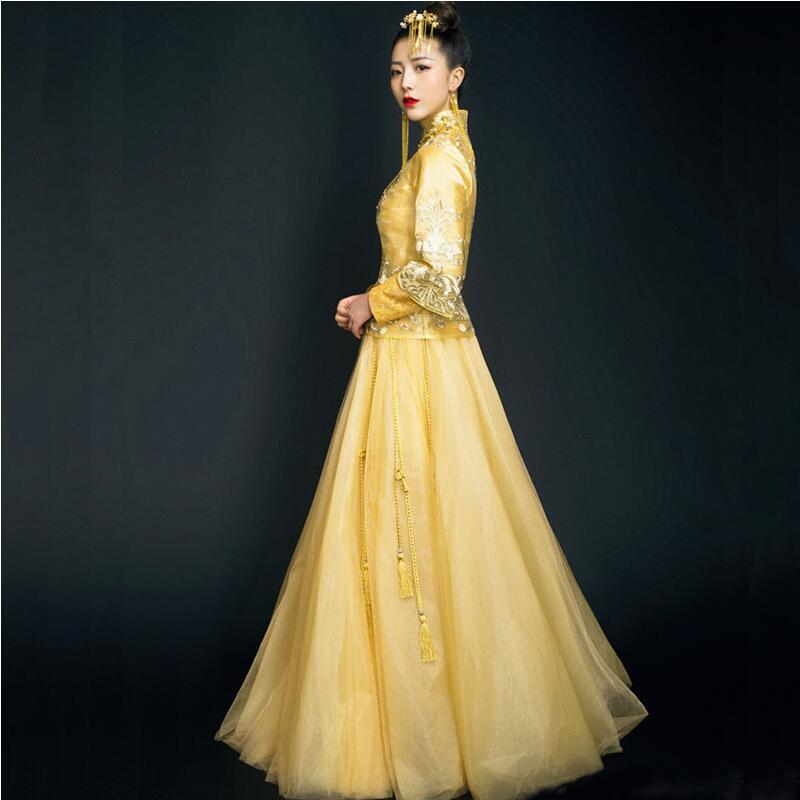 2018 sommer Herbst Especial Mode Chinesische braut brautkleid kleid ...