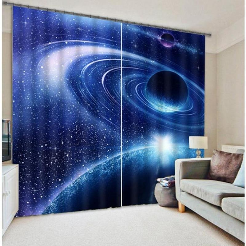 W200cm H136cm galaxie univers 3D Photo impression rideaux occultants rideaux rideaux rideaux pare-soleil fenêtre rideau