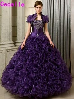 6cc97d463 2019 niñas princesa vestidos de quinceañera largo púrpura con cuentas  volantes Organza corsé dulce 15 16 Quinceañera vestidos con chaquetas