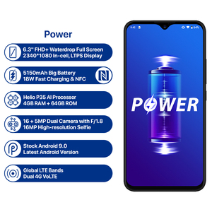 "Image 2 - UMIDIGI Power 5150mAh 18W Fast Charge Android 9.0 4GB 64GB 6.3"" FHD+ Global Version Smartphone Dual Helio P35 2.3GH Dual 4G 16MP"