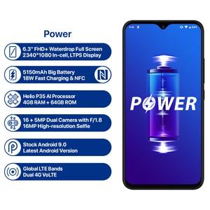 "Image 2 - Umidigi Power 5150 Mah 18W Snelle Lading Android 9.0 4 Gb 64 Gb 6.3 ""Fhd + Global Versie smartphone Dual Helio P35 2.3GH Dual 4G 16MP"