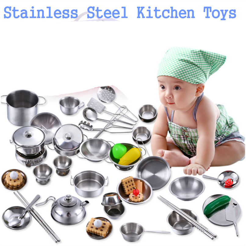 Mylitdear Stainless Steel Kitchen Cooking Utensils Pots Pans Food Gift Miniature Kitchen Cook Tools Simulation Play