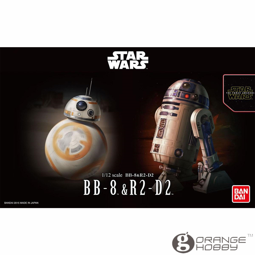OHS Bandai Star War TFA 1/12 BB-8 & R2-D2 Assembly Model Kits oh bandai bandai gundam model sd q version bb 309 sangokuden wu yong bian xiahou yuan battle
