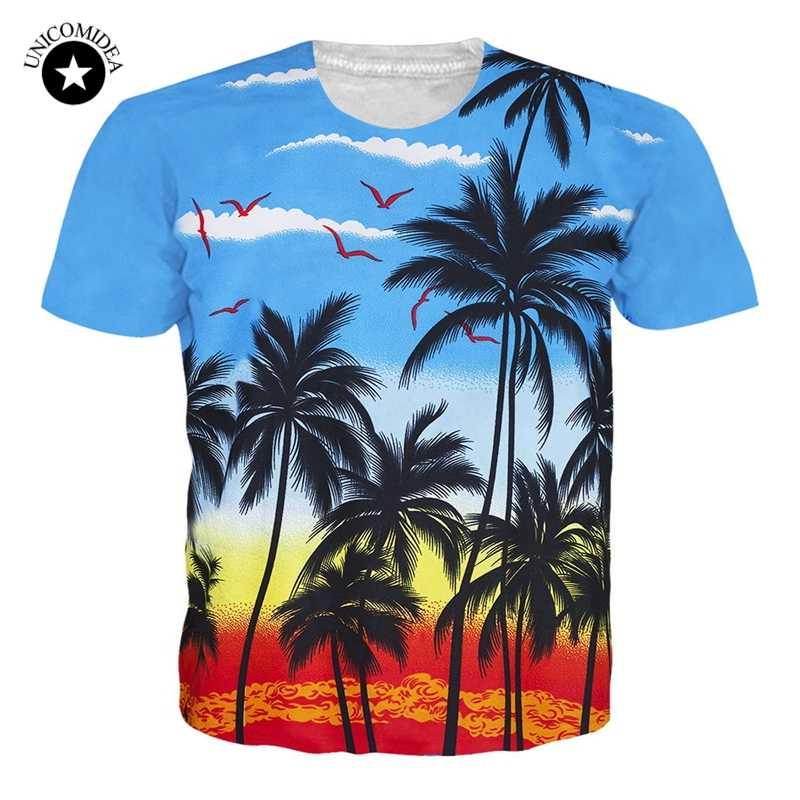 Summer T-shirt Hawaiian Tee Shirt Floral/Coconut Tree Printed Tee Casual Women Men Harajuku Funny Tops Plam Tree Beach Tshirt
