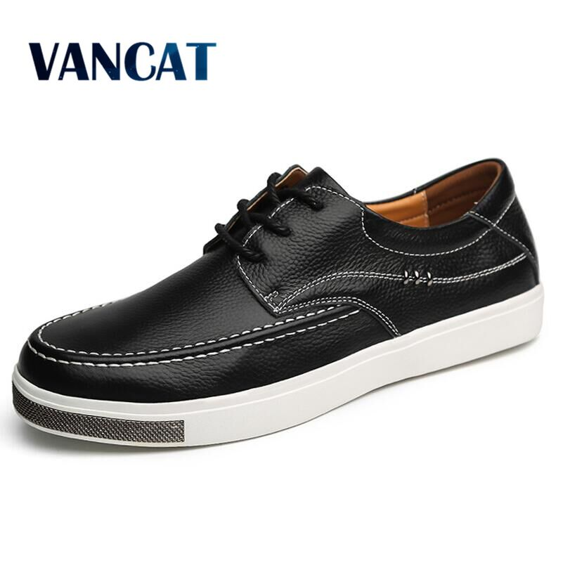VANCAT High Quality Men Flats Casual New Genuine Leather Flat Shoes Men Rubber  Fashion Lace Up Dress Shoes Work Shoe Sapatos high quality hot sale men vintage genuine leather shoes washing distressed men s fashion flat shoes lace up male casual footwear