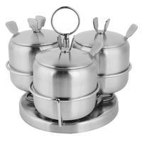 Stainless Steel Spice Condiment Seasoning Jar Box Salt Sugar Spice Jar Kitchen Tools Accessories
