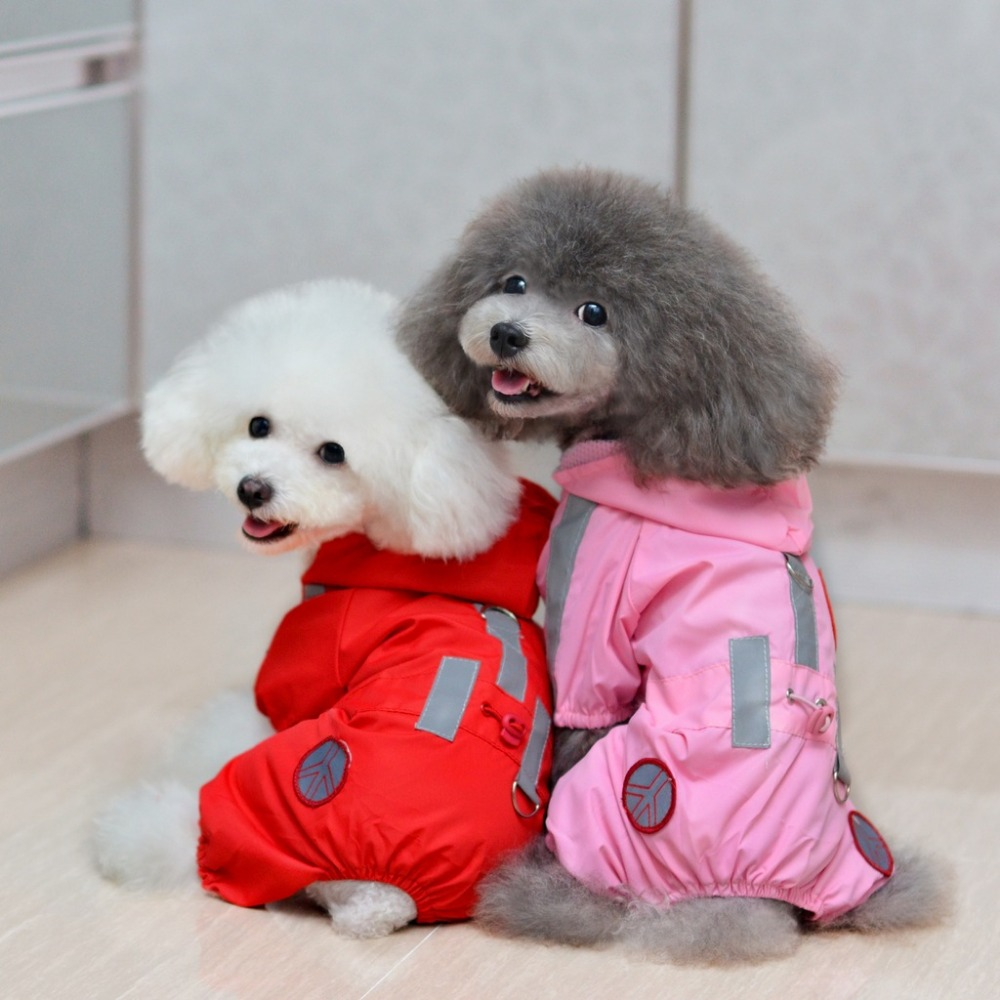 ETHN New Dog Hoody  Raincoat Slicker Jumpsuit Pet Cat Clothes Sunscreen Waterproof  Jacket Puppy Rainwear Pink Red Color