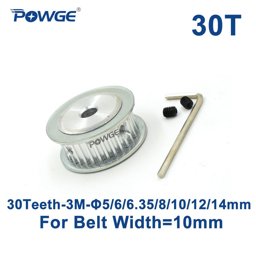 POWGE 30 Teeth HTD 3M Synchronous Timing Pulley Bore 5/6/6.35/8/10/12/14mm for Width 10mm 3M  belt HTD3M pulley gear 30T 30Teeth 10meters htd 3m open ended timing belt width 15mm 10pcs 24 teeth bore 12mm 3m timing pulley for laser engraving cnc machines