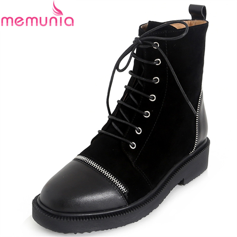 MEMUNIA 2018 winter keep warm fashion lace up ankle boots low heel round toe platform solid black genuine leather shoes women women ankle boots 2016 round toe autumn shoes booties lace up black and white ladies short 2017 flat fashion female new chinese