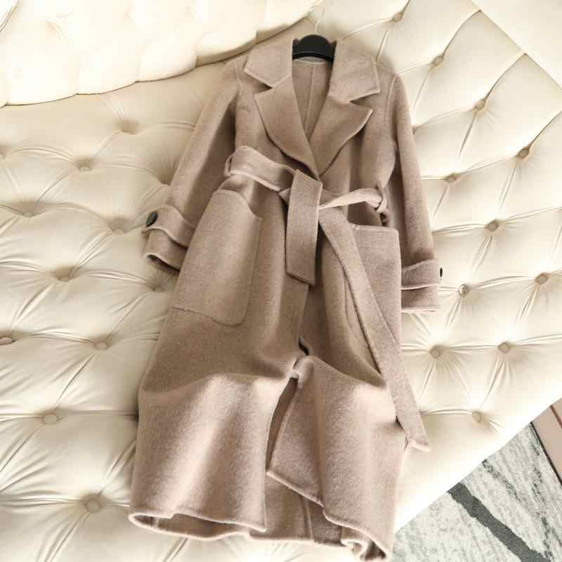 QIAN SI CHEN 2019 Autumn New 100% Cashmere Coat Alpaca Warm Winter Coat Women Long Wool Coat Office Lady Slim Female Overcoat